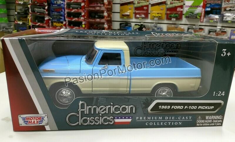 1:24 Ford F-100 Pick Up 1969 Caja Corta Bitono Azul y Beige Motor Max C caja