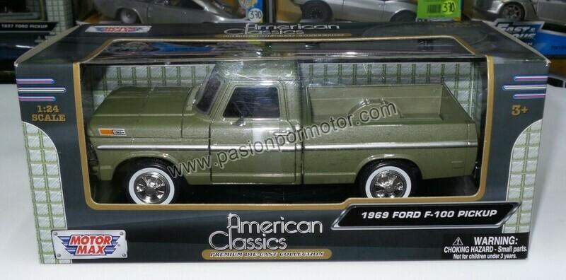 1:24 Ford F-100 Pick Up 1969 Caja Corta Verde Motor Max C caja