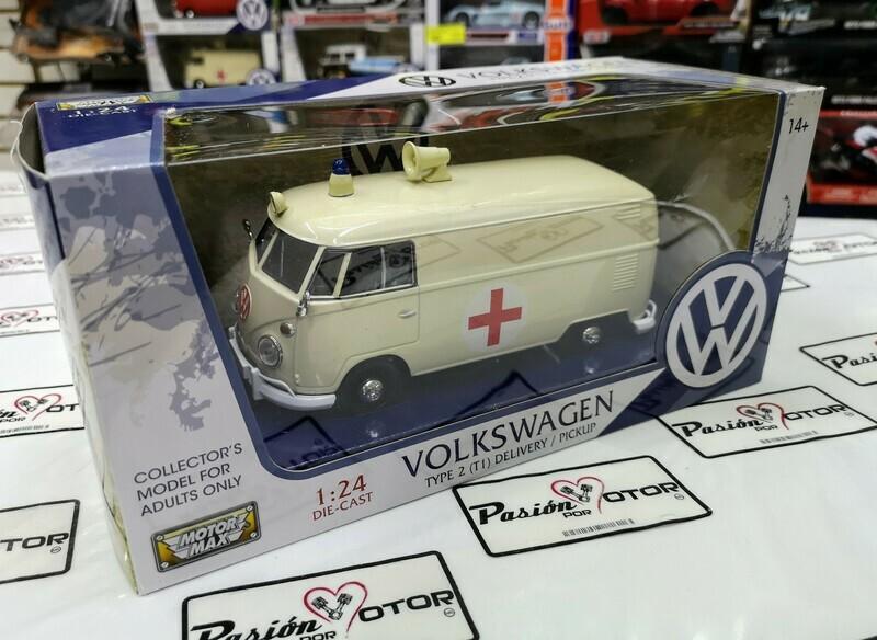 1:24 Volkswagen Type 2 T1 Combi Panel 1961 Ambulancia Beige Motor Max C Caja