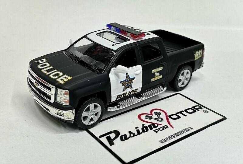 1:46 Chevrolet Silverado Super Crew 1500 LTZ 2014 Patrulla Policia Police Kinsmart En Display a Granel 1:43