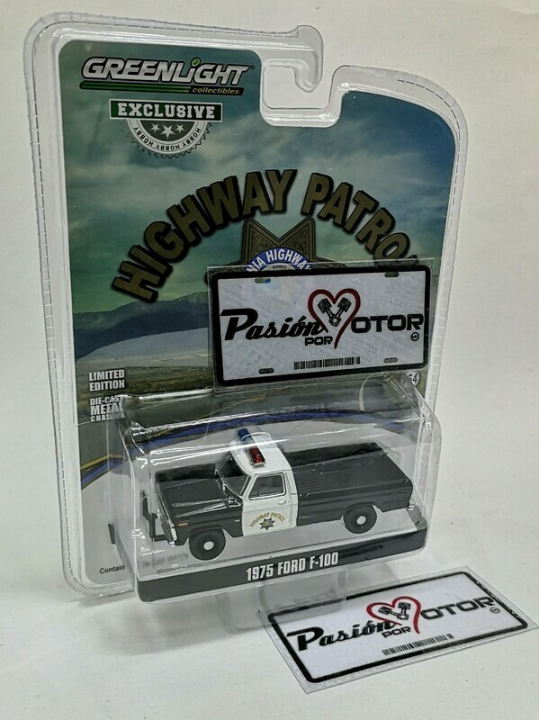 1:64 Ford F-100 Pick Up 1975 California Highway Patrol Patrulla Policia Greenlight Hobby Exclusive