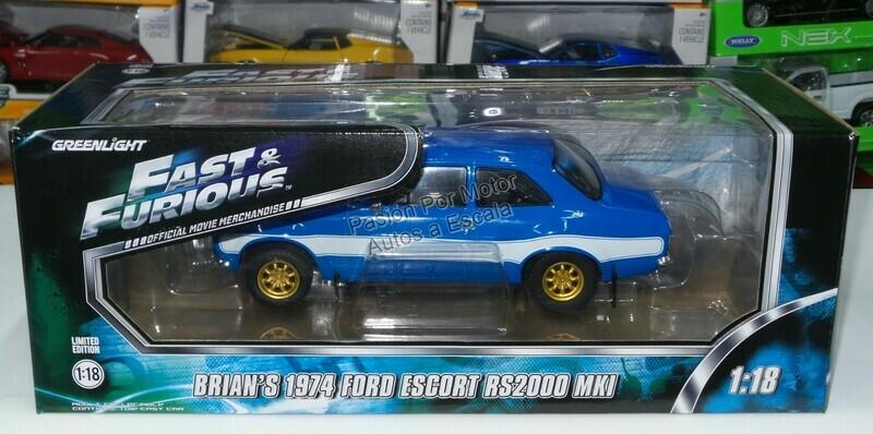 1:18 Ford Escort RS2000 MKI 1974 Brian's Rapido y Furioso 6 Greenlight