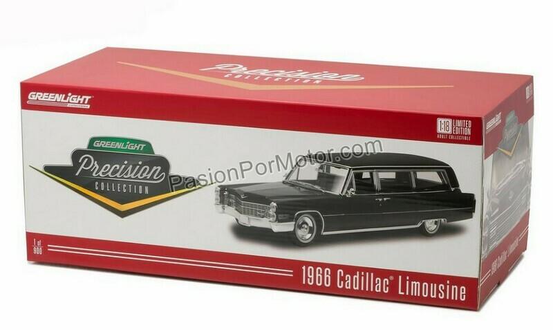 1:18 Cadillac Limousine 1966 Negro Carroza Funebre   Greenlight - Precision