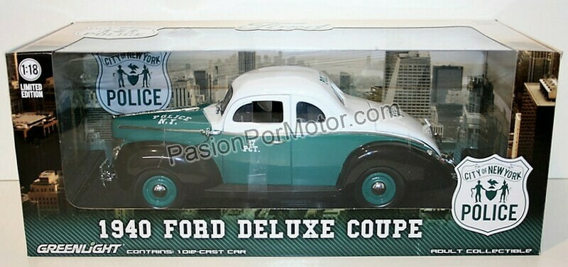 1:18 Ford Deluxe Coupe 1940 Police New York City Patrulla Greenlight NYPD
