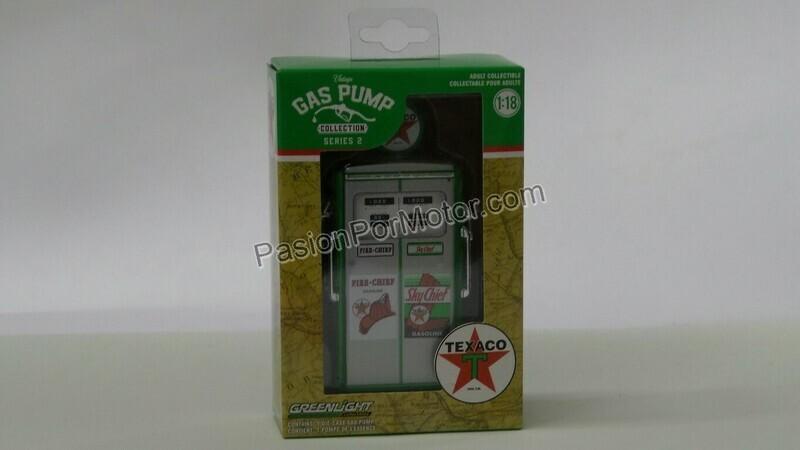1:18 Bomba de Gasolina Vintage Texaco Sky Fire - Chief Greenlight Gas Pump Serie 2
