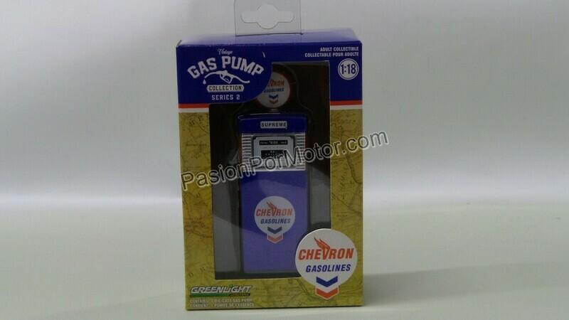 1:18 Bomba de Gasolina Vintage Chevron Gasolines Greenlight Gas Pump Serie 2