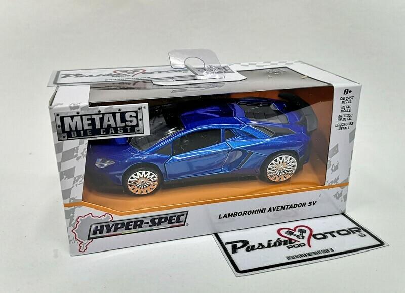 1:32 Lamborghini Aventador LP750-4 SV 2015 Azul Jada Toys Hyper Spec C Caja