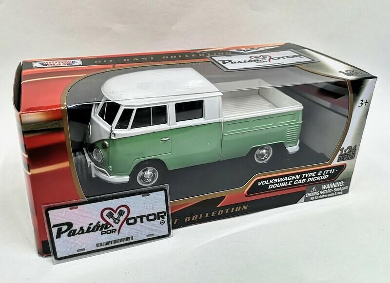 1:24 Volkswagen Type 2 T1 Combi Pick Up 1967 Verde C Blanco Motor Max C Caja