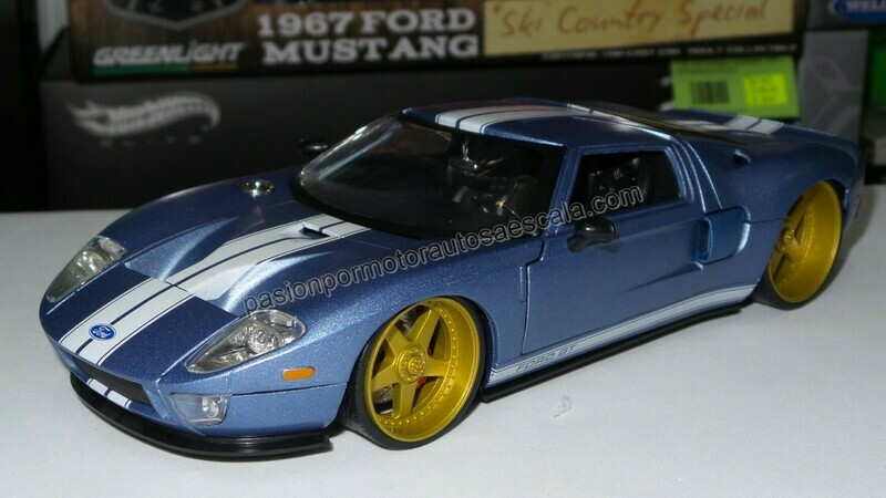 1:24 Ford GT 2005 Azul Mate Jada Toys Big Time Muscle En Display / A Granel
