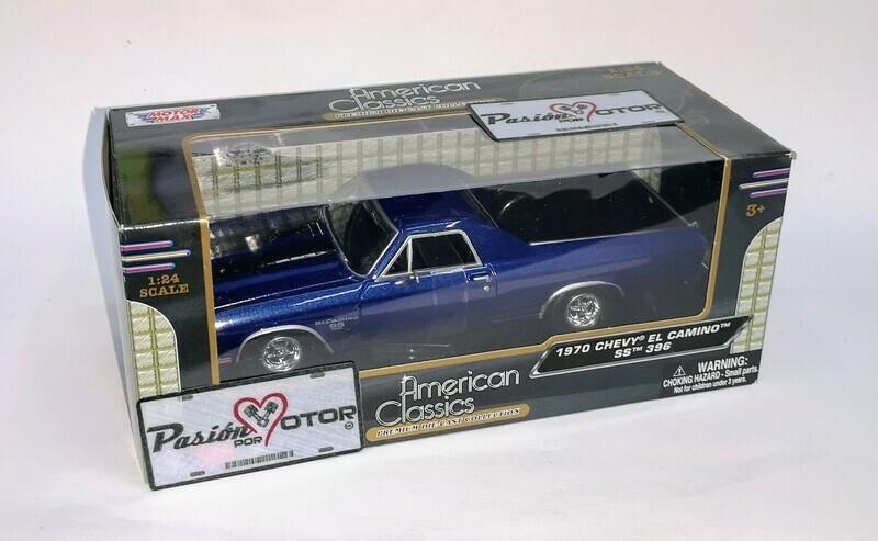 1:24 Chevrolet El Camino SS 396 1970 Azul Franjas Negras Pick Up Motor Max C Caja