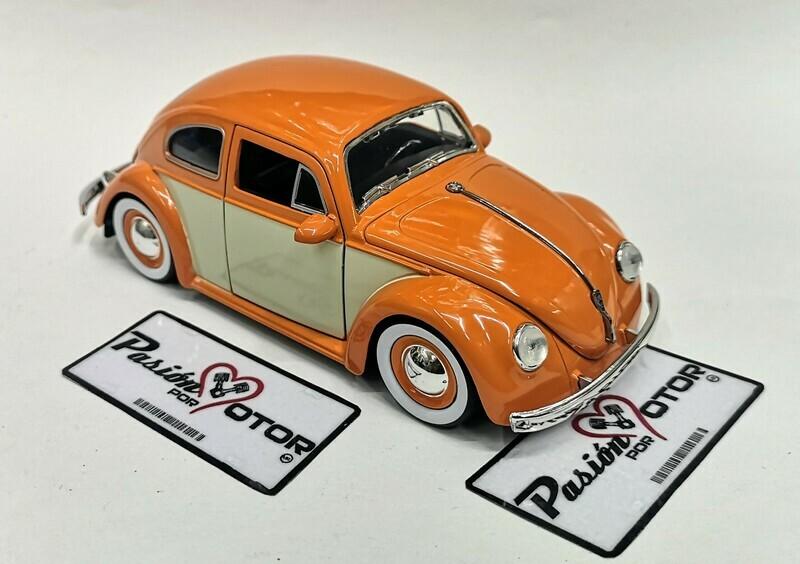 1:24 Volkswagen Beetle 1959 Naranja C Beige Rin Baby Moon Jada Toys Big Time Kustoms En Display / A Granel