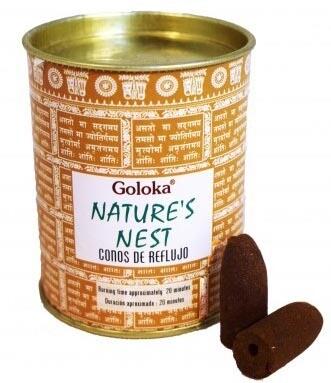 Goloka Nature's Nest - 24 Coni di incenso Back flow