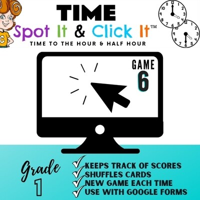 TIME Game 6 (hour & half hour words) Spot It & Click It™