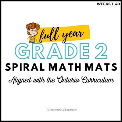 Grade 2 Ontario Math | Spiral Math Mats | Full Year Pack