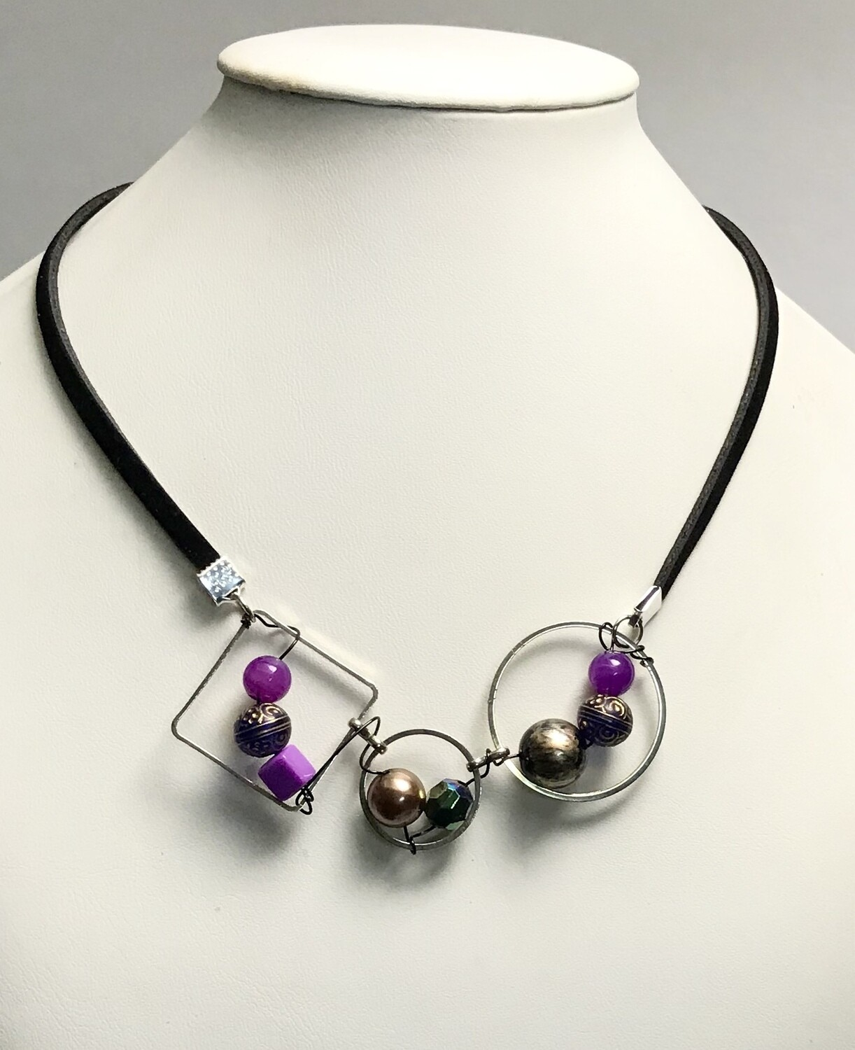 COLLIER TRILOGIE MIX MAUVE