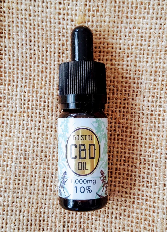 1000mg (10%) 'Gold' CBD oil 10ml dropper bottle.