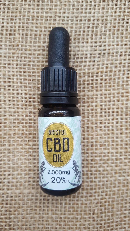 2000mg (20%) CBD oil 10ml dropper bottle.