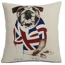 English Bulldog Chenille Front Cushion 18 x 18