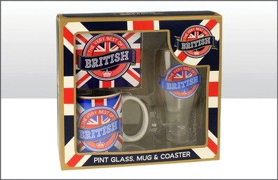 British Pint Glass Coaster Mug Set