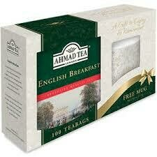 Ahmad Tea English Breakfast 100's (Includes free bone china mug)