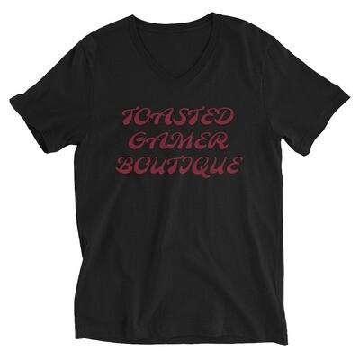 Toasted Red Unisex Short Sleeve V-Neck T-Shirt