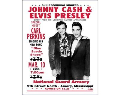 Johnny Cash Elvis Presley print photo vintage concert poster music gift fan retro wall decor 1950s