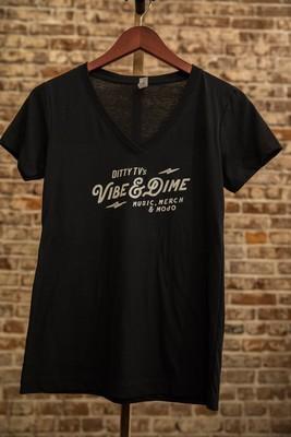 Women's Classic V-Neck Black with White Vibe & Dime Logo