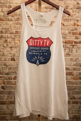 Womens Concert Series Tank White with Color Logo