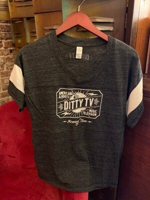 Womans DittyTV Jersey T Shirt--Classic Logo in Dark Gray with White Stripe