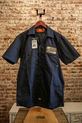 Mens Industrial Dickie Short Sleeve Work Shirt--Black