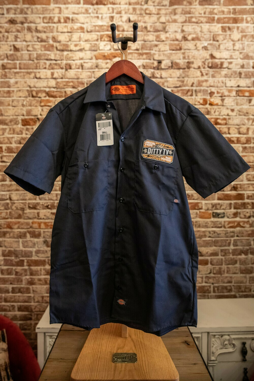 Mens Industrial Dickie Short Sleeve Work Shirt - Charcoal Gray
