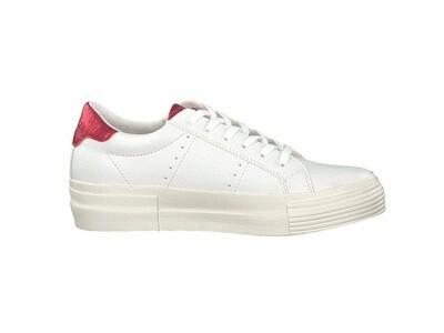 s.Oliver witte dames rits sneakers met rood