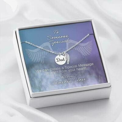 Send Special Message Card (Dad Angel Pendant)- Customised Design Service