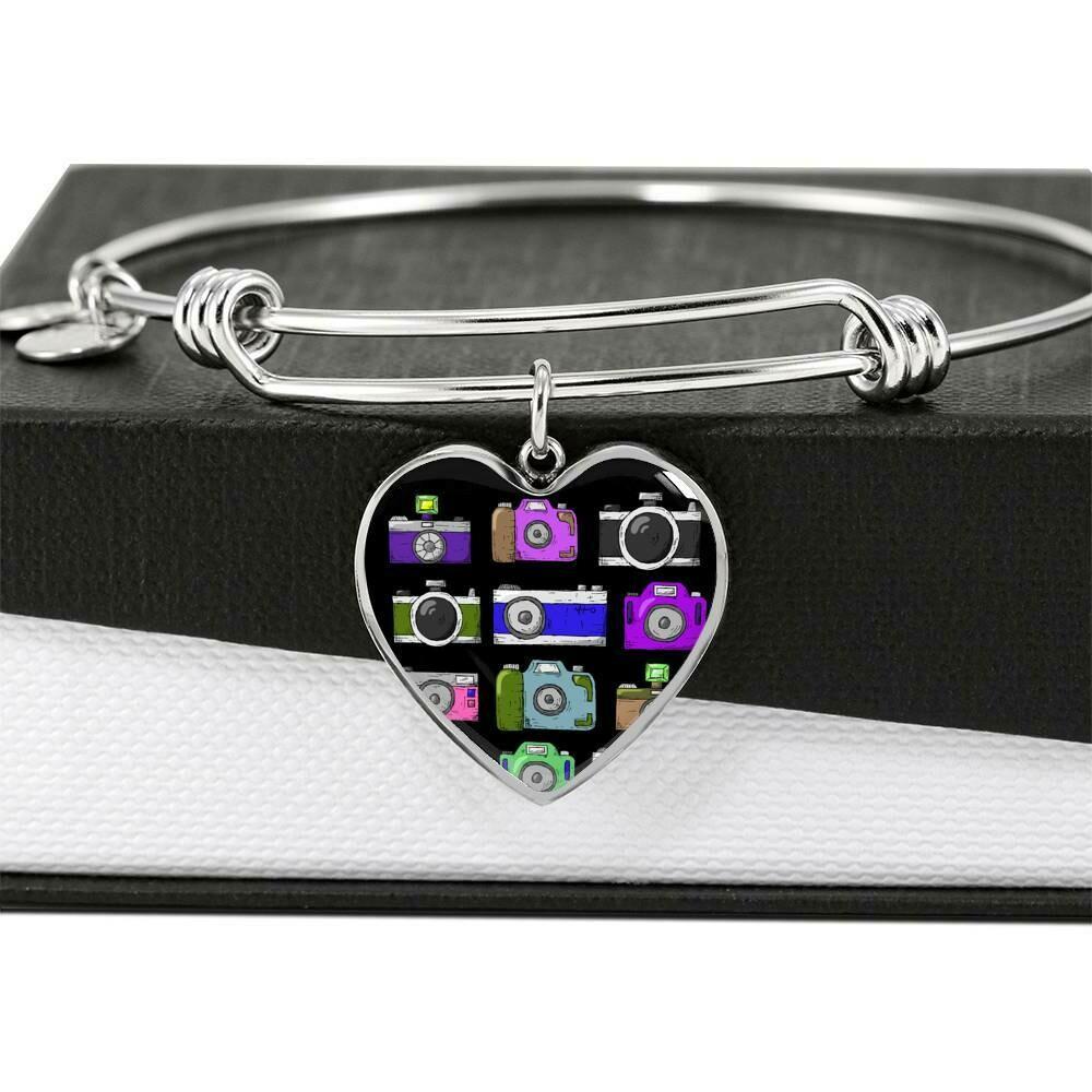 Upload Your Own Photo- Heart Adjustable  Bangle