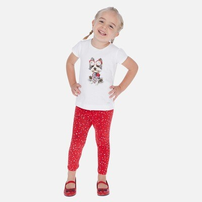 Red Print Leggings Set 3718 3