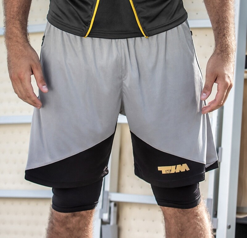 Double pants-leggins grey-black