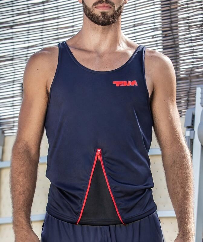 SMART top with zip blue-red
