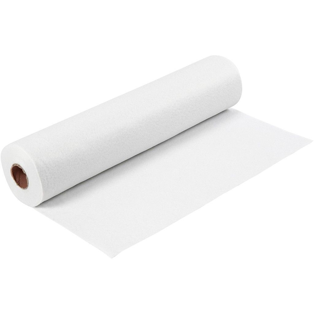 Felt - White (by the metre) W:45cm, thickness 1,5 mm, 180-200 g/m2
