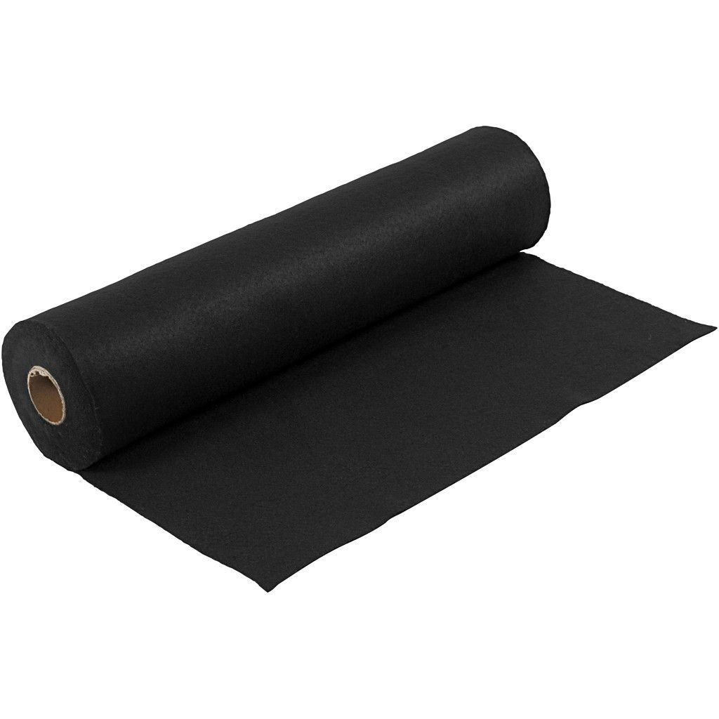 Felt - Black (by the metre) W:45cm, thickness 1,5 mm, 180-200 g/m2