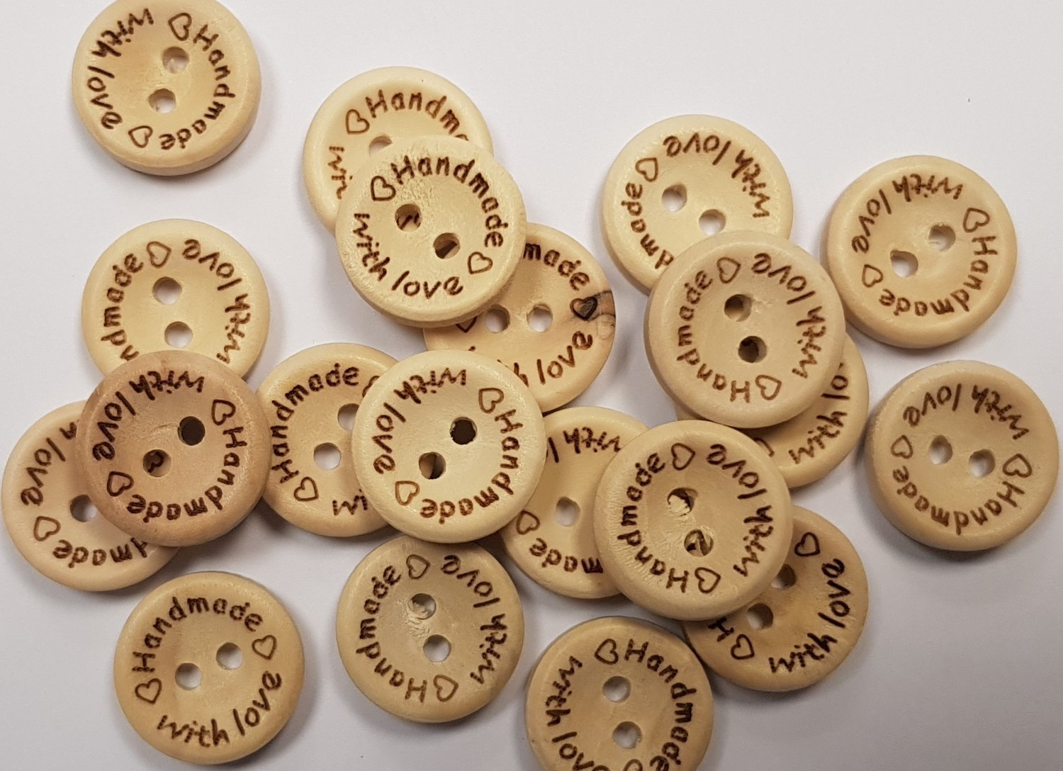 'Handmade with love' Wooden Button 15mm x 20