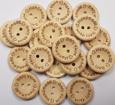 'Handmade with love' Wooden Button 20mm x 20