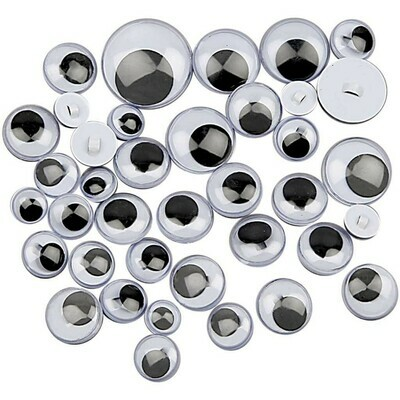 Sew On Googly Eyes, D 8-20 mm, 24mixed