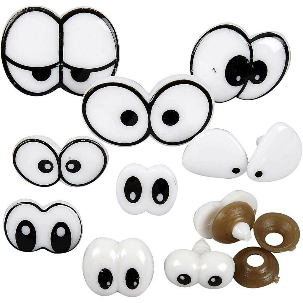 Funny Eyes - Assortment, size 2-3 cm with fastener, 9 mixed