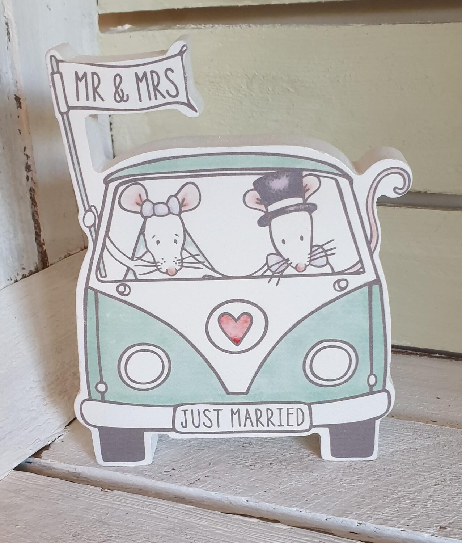 Mr & Mrs Campervan Mice Wooden Ornament
