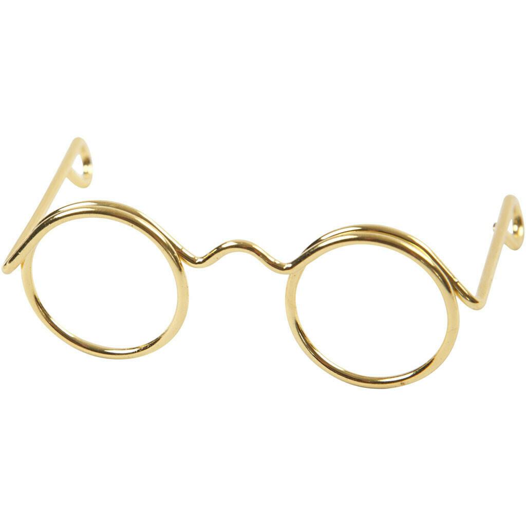 Novelty Glasses, W: 35 mm, inner hole size 13 mm, gold, 10pcs