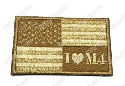 PB325 I Love M4 US Flag Right Arms With Velcro - Tan Colour