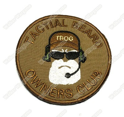 WG034 Tactical Beard Owners Club Patch With Velcro - Tan Colour