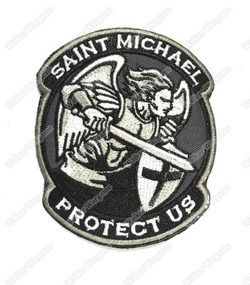 WG052 US Army Saint Michael Angel Protect US With Velcro - Black Color