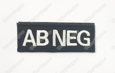 WG043B US Army AB NEG Blood Type Patch With Velcro - SWAT Black