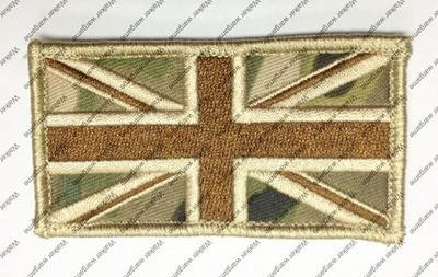 B2737 UK British Flag Patch With Velcro - Multicam Colour